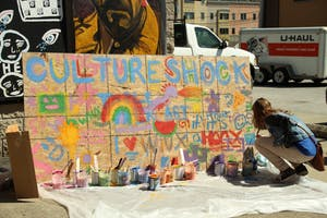 A mural was made by guests on April 10, 2016 at the Culture Shock event.