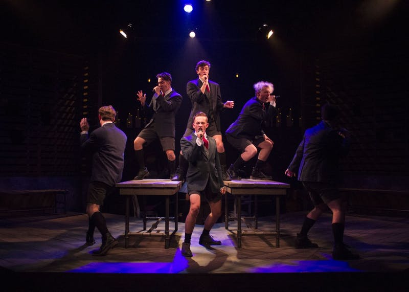 "Scott Van Wye, Josh Carter, Kyle Mason, Justin Smusz, Garrett Thompson and Ben Dow perform ""The Bitch of Living"" in ""Spring Awakening."" The musical will be performed at the Ivy Tech John Waldron Arts Center Oct. 20-28 at 7:30pm."