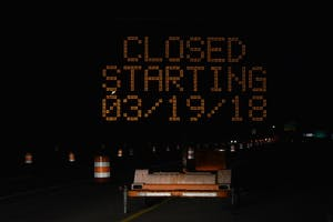A traffic sign notifies southbound motorists on State Road 37 of the impending closure of the North Walnut Street and State Road 37 partial interchange. Access will be temporarily closed to drivers starting March 19.