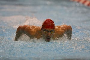 Then-sophomore Vini Lanza, now a junior, competes in the men's 200-yard butterfly heat during IU's meet against Louisville on Jan. 27, 2017. The men's team will compete in the NCAA Championships March 21-24 in Minneapolis.