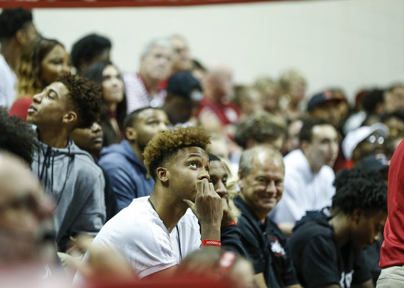 New Albany High School senior Romeo Langford watches the video board at Simon Skjodt Assembly Hall during Hoosier Hysteria on Saturday. Langford announced he would attend IU to play college basketball Monday night at New Albany High School in New Albany, Indiana.