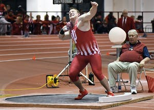 Junior David Schall competes in the shot put in the Hoosier Open on Dec. 8 in Harry Gladstein Fieldhouse. Schall won the men's shot put in Saturday's dual meet with Tennessee with a new meet record of 18.70m.