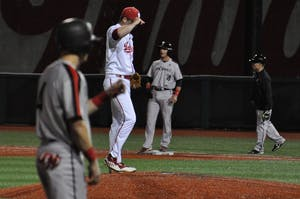 Then-sophomore pitcher Brian Hobbie, now a junior, takes the mound with bases loaded in the top of the ninth inning March 29, 2016, at Bart Kaufman Field.