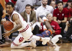 Sophomore guard Devonte Green grabs the ball taking possession during the Hoosiers' game against the Fighting Illini on Wednesday at Simon Skjodt Assembly Hall. The Hoosiers beat the Illini, 78-68.