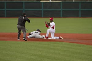 Cincinnati infielder Connor McVey gets caught stealing at second base by sophomore infielder Jeremy Houston March 6 at Bart Kaufman Field. The Hoosiers will play Wright State at 4:05 p.m. on Wednesday at home.