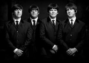 Mark Bloor as John Lennon, Steven Howard as Paul McCartney, Craig McGown as George Harrison and Brian Ambrose as Ringo Starr form the Mersey Beatles, a Beatles tribute band. The band will be performing at 7:30 p.m. Friday at the Buskirk-Chumley Theater.