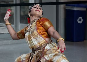Tanya Saxena performs her first of three dances in the Global and International Studies Building on Tuesday. The style of dance is traditional Indian Bharatnatyam.