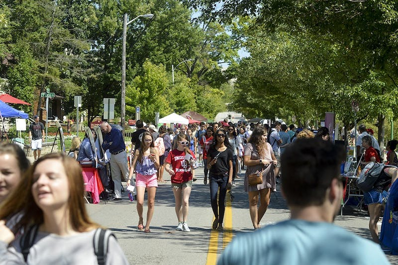 Groups of students looking for new opportunities walk to Dunn Meadow for the annual Student Involvement Fair last year. Groups ranging from student organizations to local nonprofits attended the campus event to haul in students for the 2016-2017 school year.