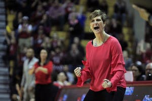 Women's basketball Coach Teri Moren shouts after a referee calls a foul on IU. The Hoosiers faced the Nebraska Cornhuskers on Saturday, Feb. 17, and won 83-75. The Hoosiers followed that up with a road win at Minnesota Tuesday night, 82-70.