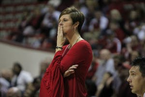 IU women's basketball coach Teri Moren watches the game from the sidelines Jan. 27 at Simon Skjodt Assembly Hall. IU beat Rutgers University 64-58. The Hoosiers played their last game of the regular season at Iowa Saturday and lost 75-62.