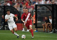 Freshman midfielder Griffin Dorsey runs toward the Notre Dame goal Tuesday at Bill Armstrong Stadium. Dorsey spent time earlier this season with the United States Under-18 National Team.