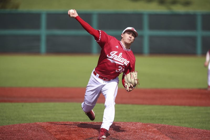 Junior pitcher Jonathan Stiever pitches the ball against the Butler Bulldogs on March 30 at Bart Kaufman Field. Stiever was drafted by the Chicago White Sox on Tuesday.