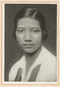 A photograph of Frances Marshall, the first black woman to graduate from IU, taken from page 92 of the 1919 Arbutus yearbook.
