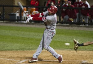 Second baseman Matt Lloyd strikes out against Purdue in the ninth inning. The Hoosiers continue their losing streak with a loss against Purdue, 3-5.