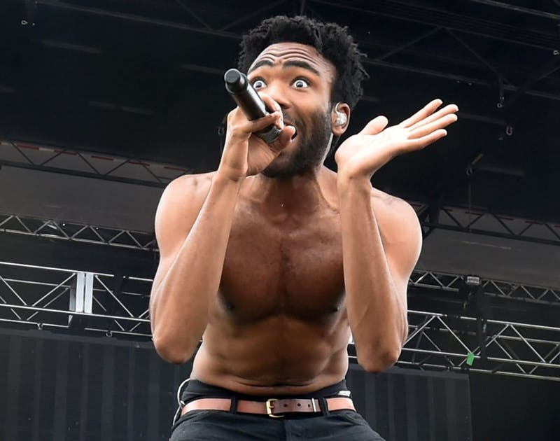 """Childish Gambino performs on the main stage on the infield before the 140th running of the Preakness Stakes Saturday, May 16, 2015, at Pimlico Race Course in Baltimore, Maryland. Childish Gambino released his new single, """"This Is America,"""" on May 5 along with a music video. (Kenneth K. Lam/Baltimore Sun/TNS)"""