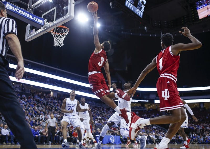 Freshman forward Justin Smith attempts to dunk the ball during the Hoosiers' game against the Seton Hall Pirates on Wednesday at the Prudential Center in Newark, New Jersey. The Hoosiers fell to the Pirates, 84-68.