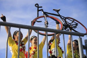 The Kappa Alpha Theta team raises its bike in celebration of its repeat Little 500 win. The women raced April 20.