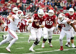 Redshirt senior quarterback Richard Lagow runs the ball against then-No. 9 Wisconsin on Nov. 4 at Memorial Stadium. Lagow will play his final home game with IU this Saturday against Rutgers.