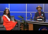 "Rob Sherrell interviews A'Niyah Birdsong, Miss Indiana University 2017, on ""Hella Late"" in spring 2017. Sherrell featured many prominent, diverse IU students as guests on his show."