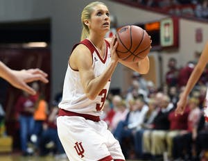 Senior guard Tyra Buss attempts a free throw against Milwaukee on March 18 in Simon Skjodt Assembly Hall. IU will face Purdue on March 22 during the WNIT.