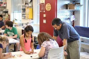 Adam Maltese, an associate professor of science education, works with students at the Make, Innovate, Learn Lab Makerspace. Maltese is studying how women and young girls first get interested in STEM careers.