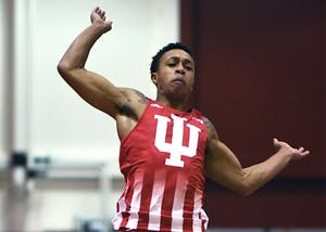 Junior Eric Bethea competes in the long jump in the Hoosier Open Dec. 8, 2017 in Harry Gladstein Fieldhouse. Bethea finished third in the event with a jump of 7.37 meters.