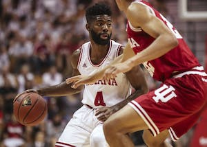 Senior guard Robert Johnson dribbles the ball during the Hoosier Hysteria scrimmage on Saturday.