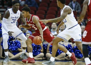 Then-freshman forward Justin Smith drives the ball during the Hoosiers' game against the Seton Hall Pirates on November 15 at the Prudential Center in Newark, New Jersey. The Hoosiers will host Marquette in this year's Gavitt Games.