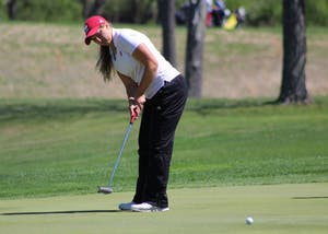 Then-sophomore Erin Harper, now a junior, putts during the first round of the IU Invitational at the IU Golf Course in April. Harper finished the Ladies Fall Intercollegiate Invitational at the Atlanta Athletic Club Highlands Course in John's Creek, Georgia, in 19th place.