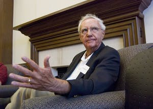 Then-Chancellor Ken Gros Louis talks to students during a 2009 fireside chat in the Great Room of the Hutton Honors College. Gros Louis died Thursday at the age of 80.