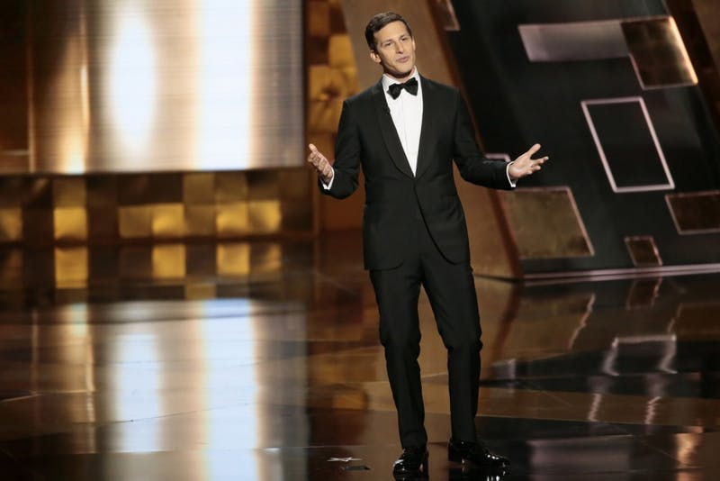 """Andy Samberg during the 67th Annual Primetime Emmy Awards at the Microsoft Theater in Los Angeles on Sept. 20, 2015. Samburg's sitcom, """"Brooklyn Nine-Nine,"""" has been renewed by NBC for a sixth season after being cancelled by Fox."""