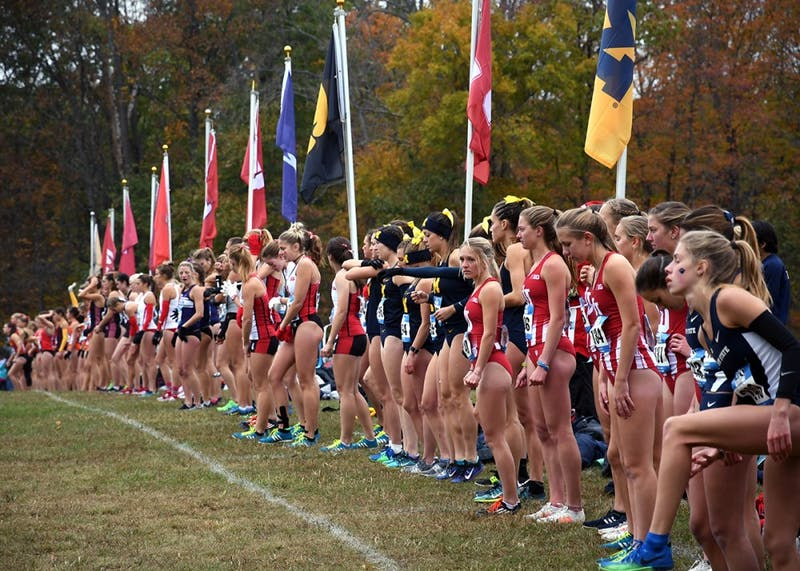 The runners line up for the start of the Big Ten Cross-Country Championships Sunday morning at the IU Cross-Country course. This course might no longer be here next year due in part to the construction of the new IU hospital.