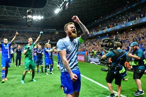 Midfielder Aron Gunnarsson of Iceland celebrates after a match against England in the 2016 European Championships at Allianz Riviera Stadium in Nice, France. Iceland is the smallest country to qualify for a World Cup.