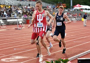 Junior Joseph Murphy crosses the finish line in his heat of the 1,500-meter run during the Big Ten Outdoor Track and Field Championships at IU's Robert C. Haugh Track and Field Complex. Murphy qualified for the NCAA Championships at Prelims on Friday with a time of 3:43.79 in the 1,500-meter run.