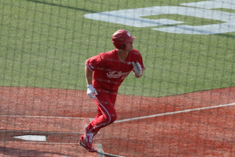 Senior outfielder Logan Sowers leaves the batter's box after hitting a home run in the fifth inning Saturday at Bart Kaufman Field. IU beat Maryland, 13-3, to end the regular season on a six-game winning streak.