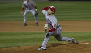 Pitcher Cal Krueger was one of the four relievers to pitch for IU against Purdue on Wednesday night. The Hoosiers traveled to West Lafayette and lost 5-3.