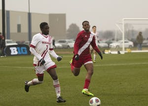 Freshman forward Mason Toye chases after a loose ball during the second half of the Big Ten Championship match on Nov. 12 at Grand Park in Westfield, Indiana. IU opens NCAA Tournament play this Sunday at home.