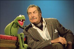 "Vincent Price sits with Kermit the Frog during an episode of ""The Muppet Show"" in 1976. Price's daughter Victoria spoke Thursday, March 8, in the IU Cinema."