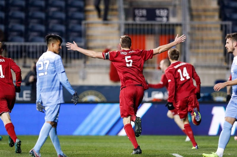 Senior defender Grant Lillard celebrates after the Hoosiers scored their one and only goal against UNC during the NCAA semifinal game against UNC on Dec. 8 at Talen Energy Stadium in Chester, Pennsylvania. Lillard will be under contract in 2018 and will have club options for 2019 and 2020 with the Chicago Fire.