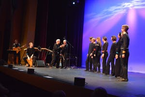 "Renowned musician Malcolm Dalglish and his Ooolite singers perform ""Sail Away"" during the ""Love Songs for a Lasting World"" concert on Feb. 13, 2017, at the Buskirk-Chumley Theater. This year's concert will take place on Feb. 24 and will benefit Middle Way House."