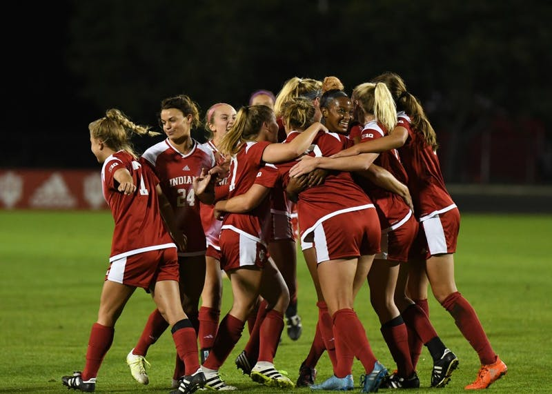 IU celebrates after junior forward Maya Piper scores her seventh goal of the season against Iowa on Oct. 12 at Bill Armstrong Stadium. IU Coach Michael Regan will be the new had coach at North Dakota State next season.