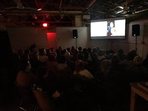 "A crowd watches ""The Florida Project,"" screened on behalf of Cicada Cinema Collective in January. Cicada Cinema was founded in 2016 when Nile Arena, Eric Ayotte, Charlie Jones, David Carter and Josh Brewer wanted to create a local cinema group."