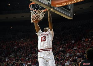 Junior forward Juwan Morgan dunks the ball against Arkansas State Wednesday evening in Simon Skjodt Assembly Hall. Morgan had 28 points and eight rebounds in IU's 87-70 win against Arkansas State.