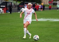 Sophomore forward Sydney Kilgore dribbles the ball against Nebraska Sunday afternoon at Bill Armstrong Stadium. Kilgore assisted on Mykayla Brown's second half goal in IU's 1-1 tie with Nebraska.
