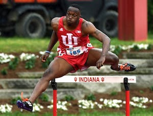 Sophomore William Session competes in the 400-meter hurdles during the Big Ten Outdoor Track and Field Championships Friday at IU's Robert C. Haugh Track and Field Complex. Session finished third overall in the first round of 110-meter hurdles at the NCAA Prelims on Friday in Tampa, Florida.