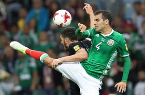 Mexico's Rafael Marquez fights for the ball during the 2017 FIFA Confederations Cup on June 21, 2017, in Sochi, Russia.