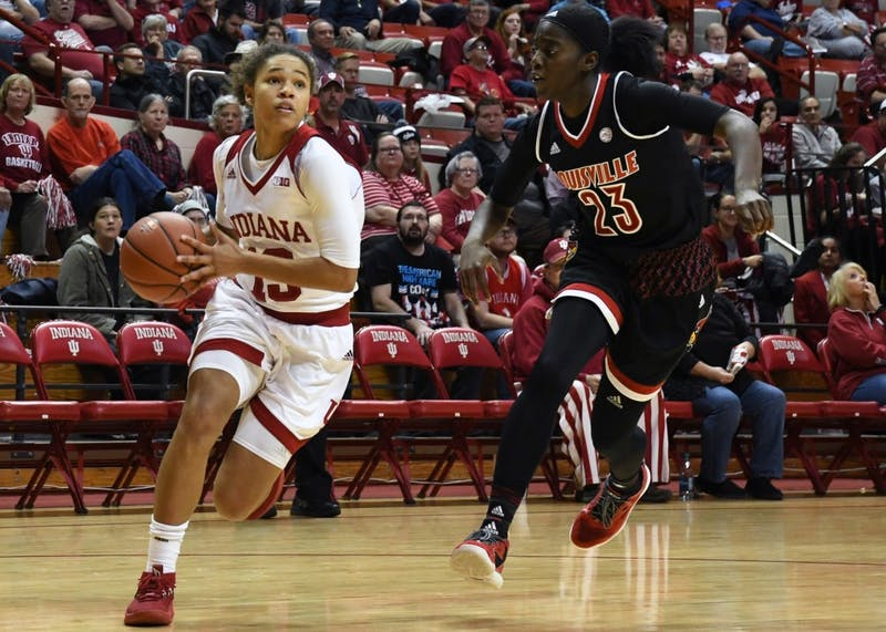 Freshman guard Jaelynn Penn goes to the basket against Louisville on Nov. 30 in Simon Skjodt Assembly Hall. Penn scored 20 points in IU's game against No. 10 Ohio State, but the team lost 77-62.