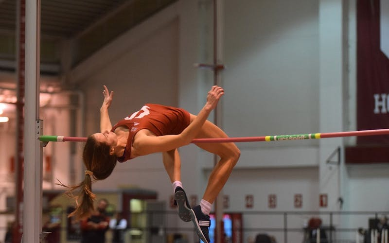 Current senior high jumper Rachel Mather competes in the high jump in the Hoosier Hills Invitational on Feb. 10, 2017, in Harry Gladstein Fieldhouse. Both men's and women's track and field teams will compete in the Gladstein Invitational on Jan. 19 and 20.
