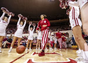 IU runs onto the court at the beginning of the Hoosiers' game against the Michigan State Spartans on Thursday at Simon Skjodt Assembly Hall. The Hoosiers for its first Big Ten win of the season at home against Purdue.