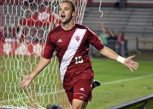 Junior defender Andrew Gutman celebrates after scoring a goal against Santa Clara Saturday night at Bill Armstrong Stadium. Gutman was one of five IU goal scorers in their 5-0 victory against Santa Clara.